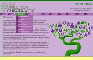 Website design screenshot - New Direction Chiropractic in Albuquerque, NM