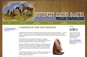 Website design screenshot - Southwest Casino Gaming - Albuquerque, NM