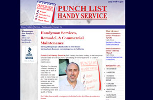 Website design screenshot - Punch List Handy Service - Albuquerque, NM