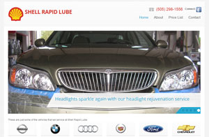 Website design screenshot - Shell Rapid Lube in Albuquerque, NM