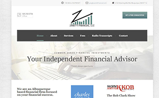 Zanetti Financial, LLC logo and responsive website design